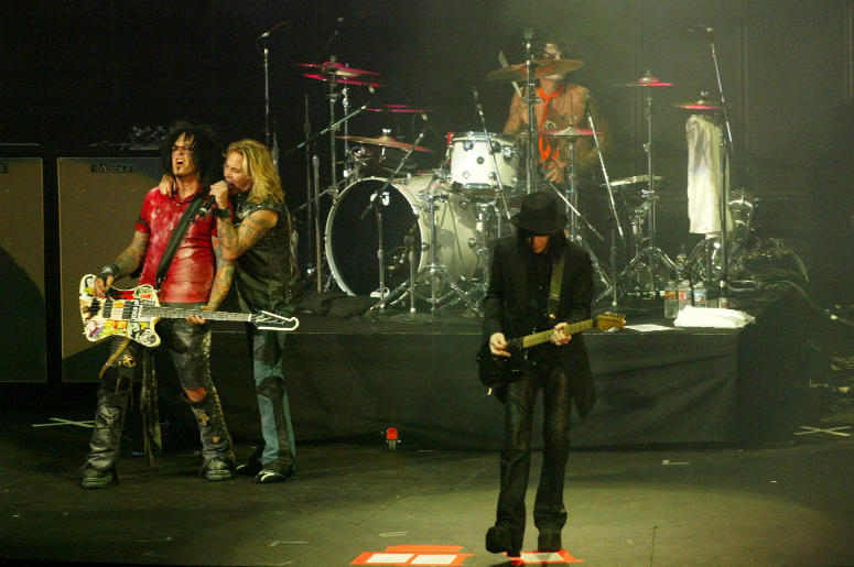 Bassist Nikki Sixx, lead singer Vince Neal, drummer Tommy Lee and guitarist Mick Mars of Motley Crue perform at the KROQ Weenie Roast 2005