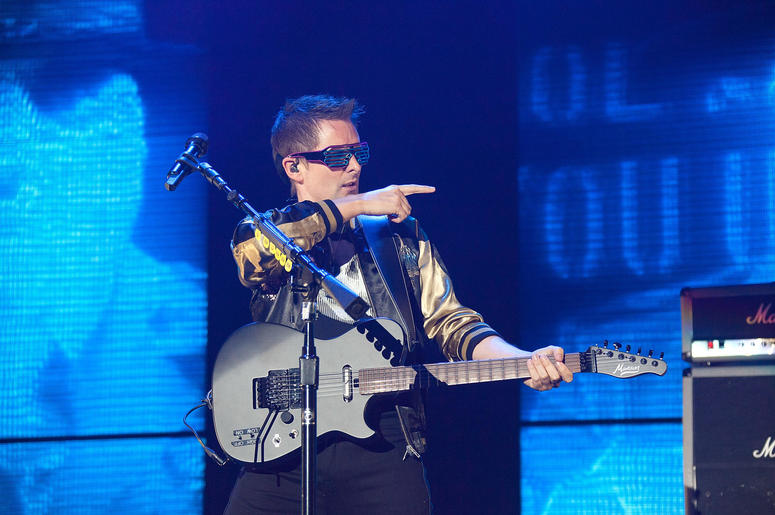 Matt Bellamy of Muse performs onstage during KROQ Almost Acoustic Christmas
