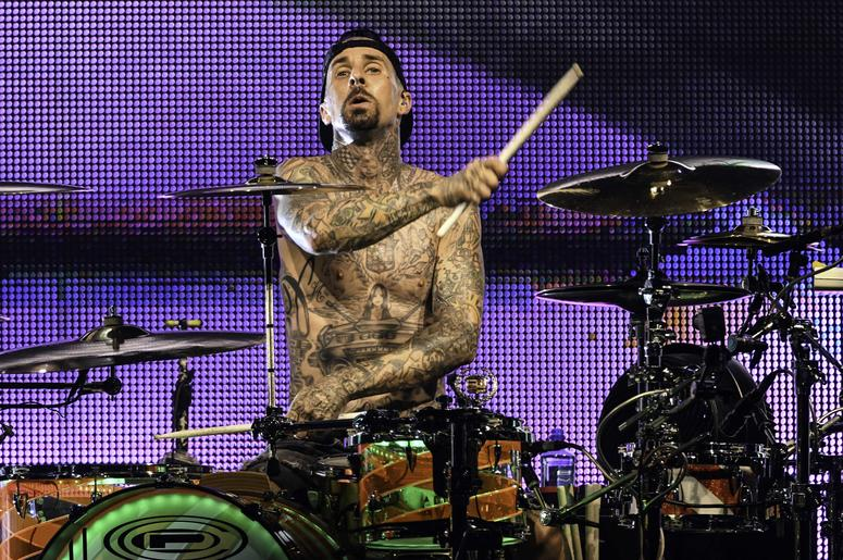 West Palm Beach, FL, USA; Blink-182 drummer Travis Barker performs at Perfect Vodka Amphitheater