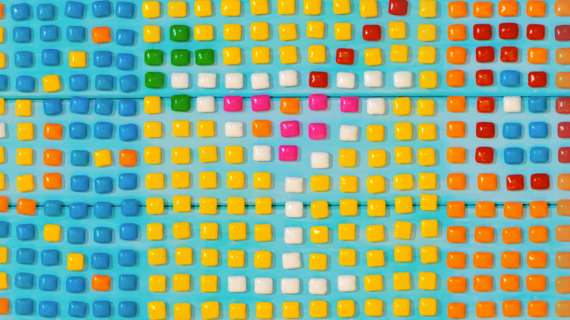 Summer icons made out of candy.