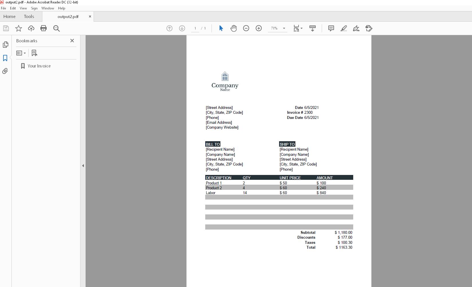 ptext invoice 4