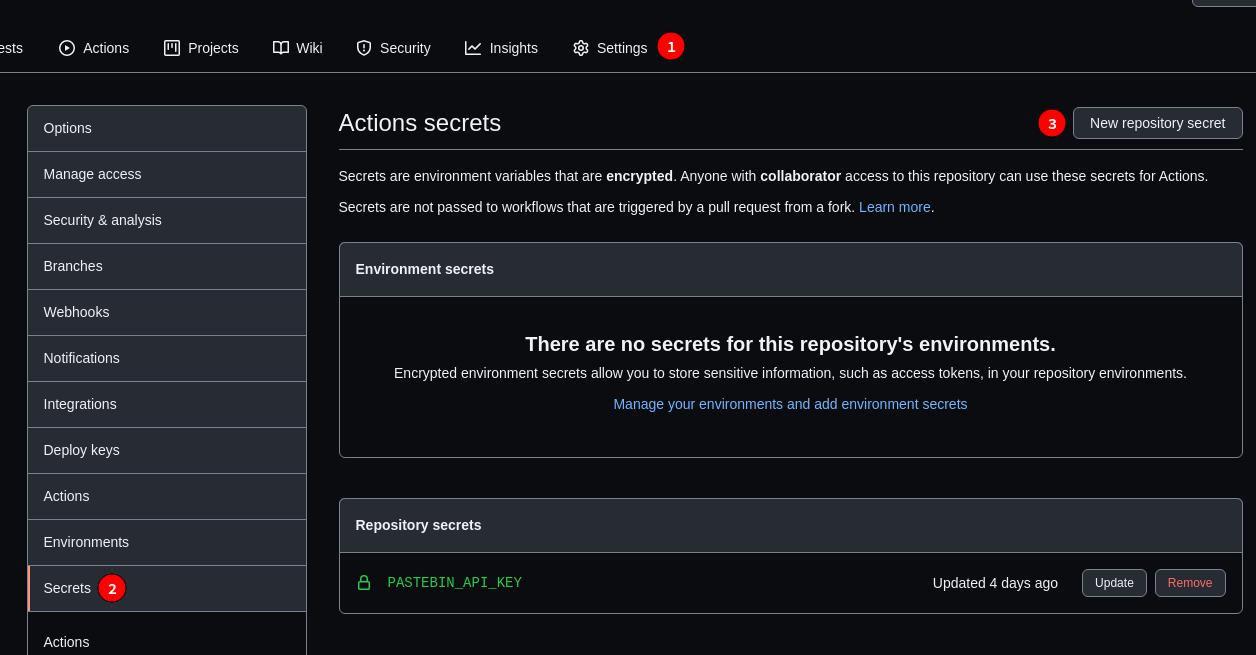 Secrets Management in GitHub