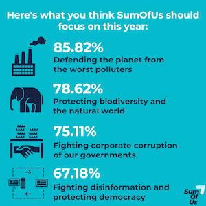 What SumOfUs should focus on: 85% Defending the planet from the worst polluters, 78% Protecting biodiversity and the natural world, 75% Fighting corporate corruption of our governments, 67% Fighting disinformation and protecting democracy