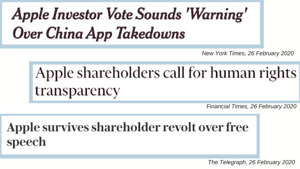 newspaper headlines that read apple investor vote sounds warning over china app takedowns apple shareholders call for human rights transparency and apple survives shareholder revolt over free speech from the new york times financial times and telegraph