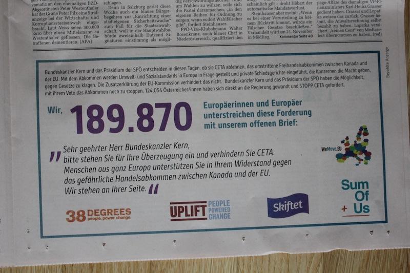 Unsere Anzeige, die die europaweite Unterstützung für Kerns CETA-Bedenken zeigt.