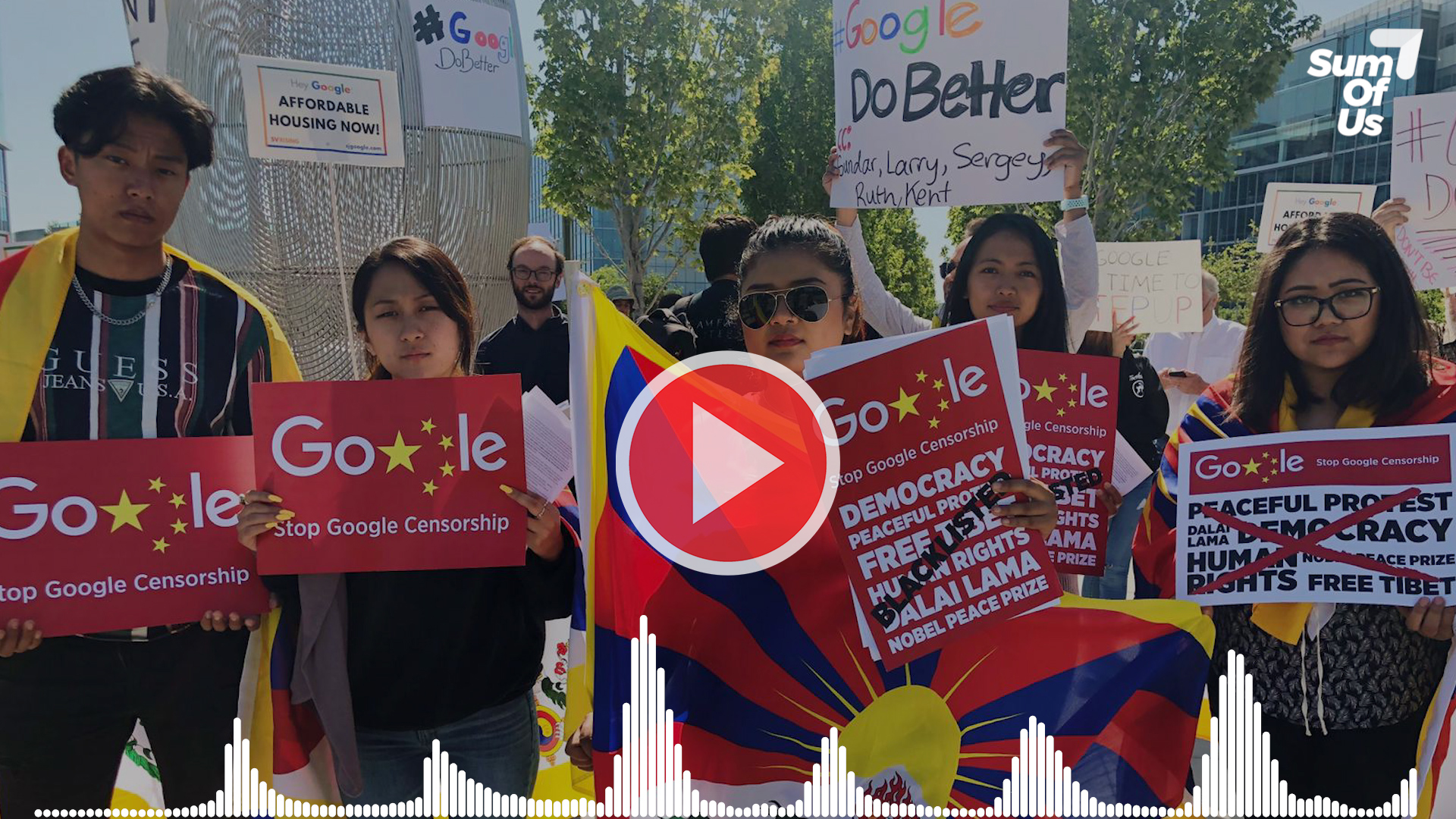 five protesters carrying placards and Tibetan flags overlaid with a play button