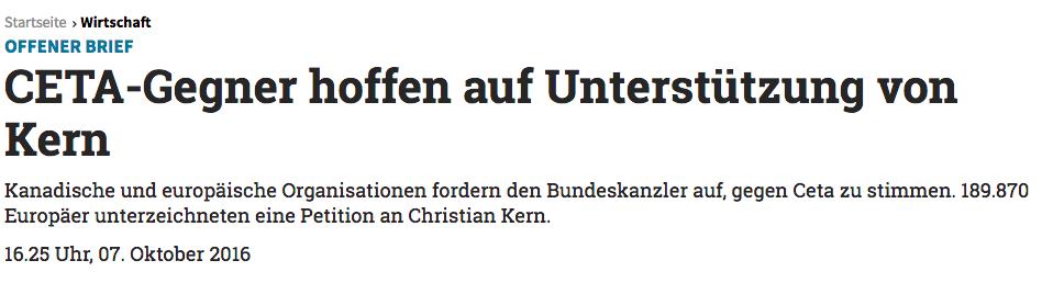 Zeitungsartikel über die europaweite Unterstützung für ein österreichisches Nein zu CETA.