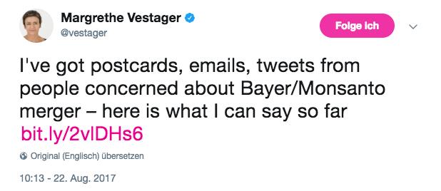 Vestager's tweet