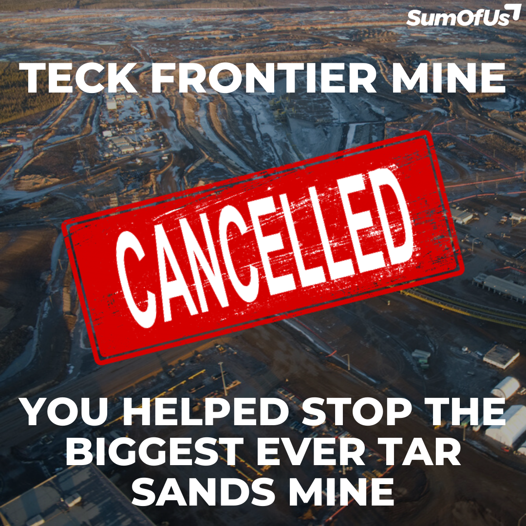 Picture of Tarsands mine with a cancelled stamp over it and the words you did it