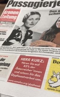 """Die Anzeige in der """"Kronen Zeitung"""" mit der Sie Bundeskanzler Kurz aufgefordert haben, das Glyphosatverbot umzusetzen."""