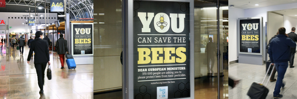 Brussels Airport covered in Save the Bees ads.