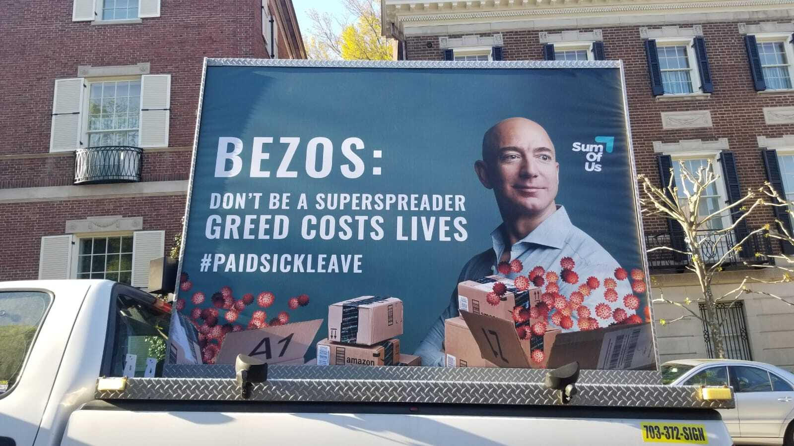paid sick leave mobile billboard outside of Besoz house