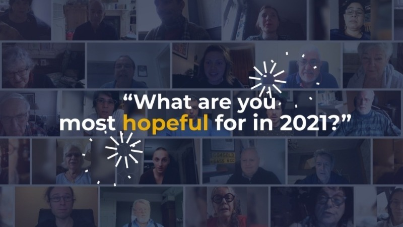 First frame of video with image of members faces with text that says what are you most hopeful for in 2021