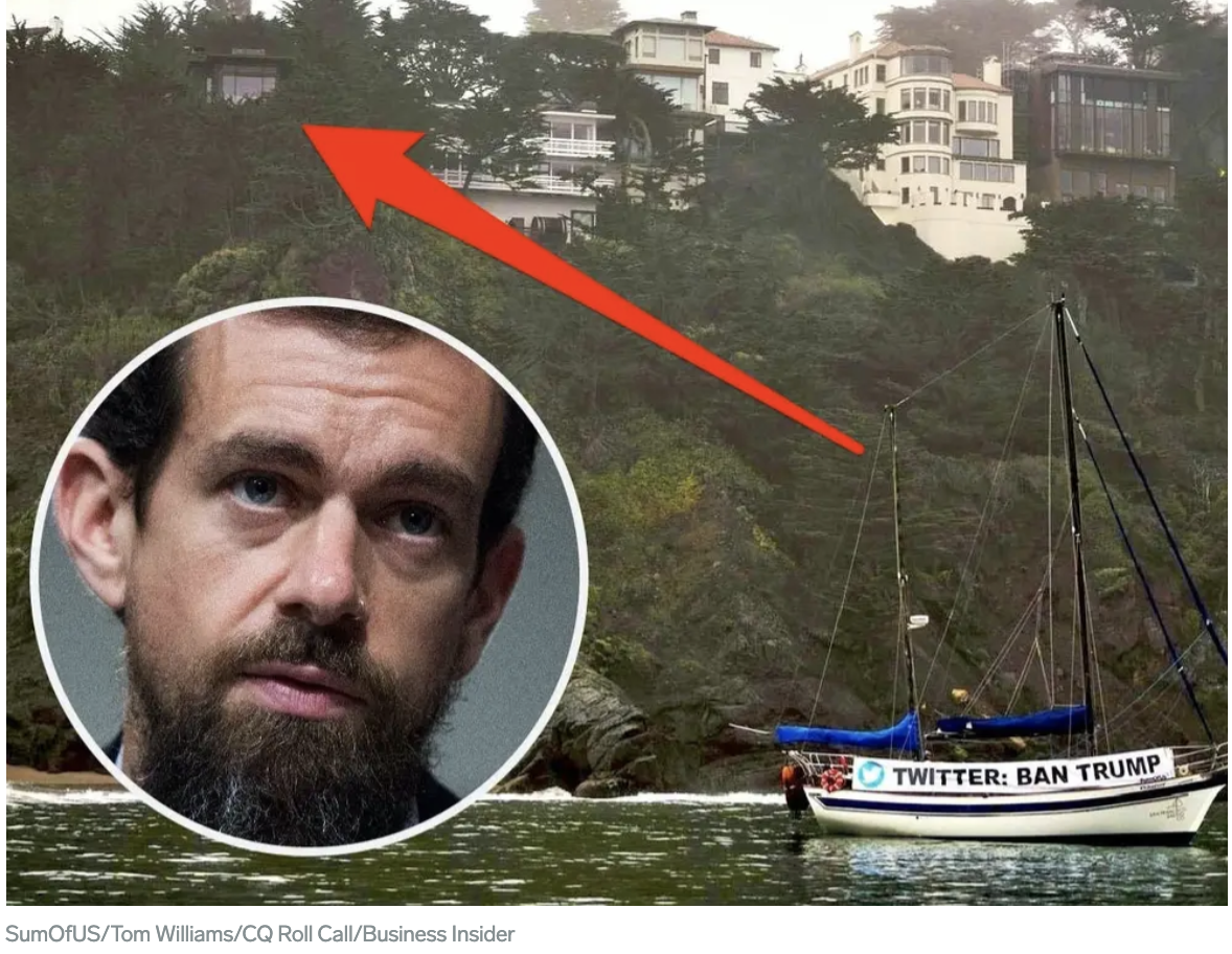Image from a news article showing the boat SumOfUs members hired to station outside Twitter CEO Jack Dorsey's bayside home with a large banner saying Twitter: Ban Trump
