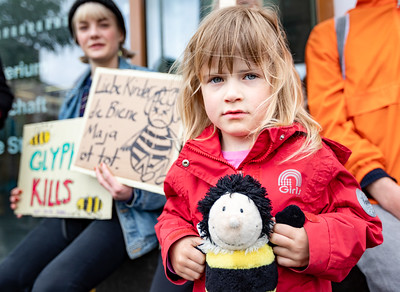 A young child wearing a read coat clutching a soft toy bee stands in front or protestors holding signs that calling for action to save the bees