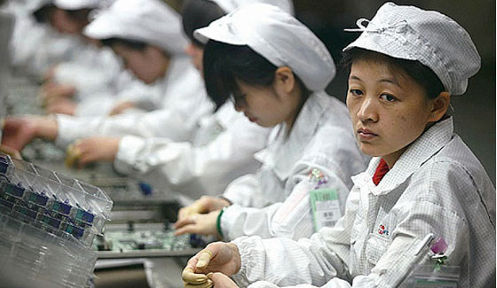 Apple factory workers