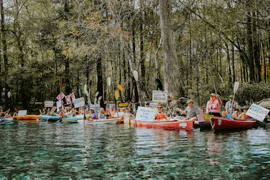 Santa Fe Florida floating kayak protest
