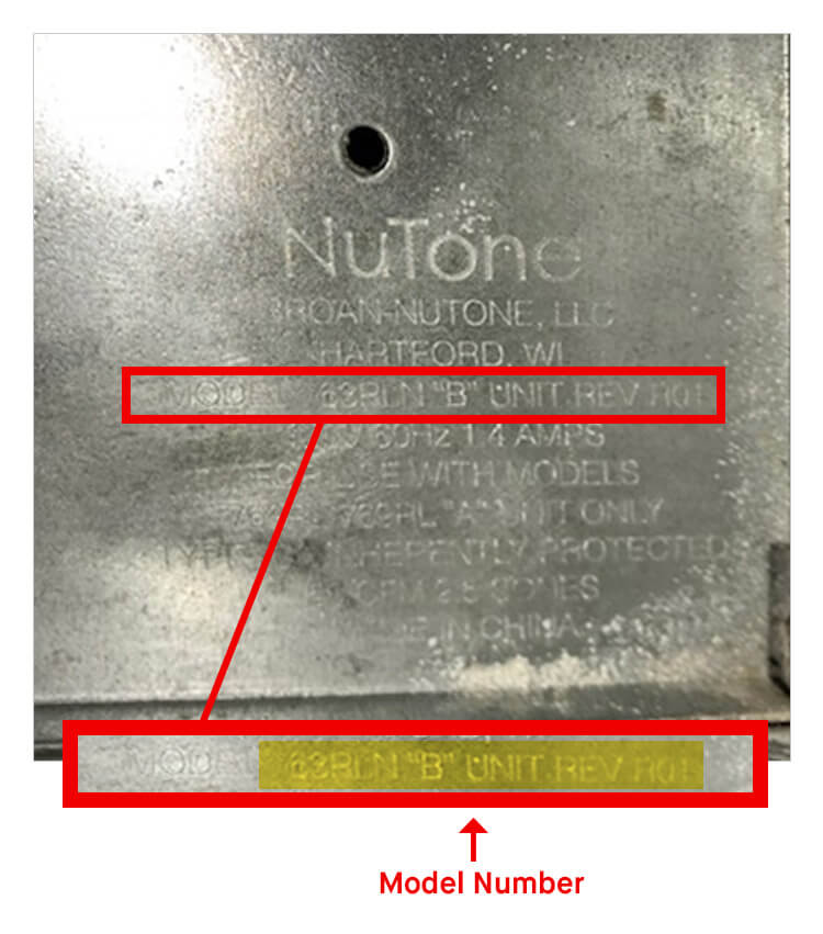 What is NuTone Model Number