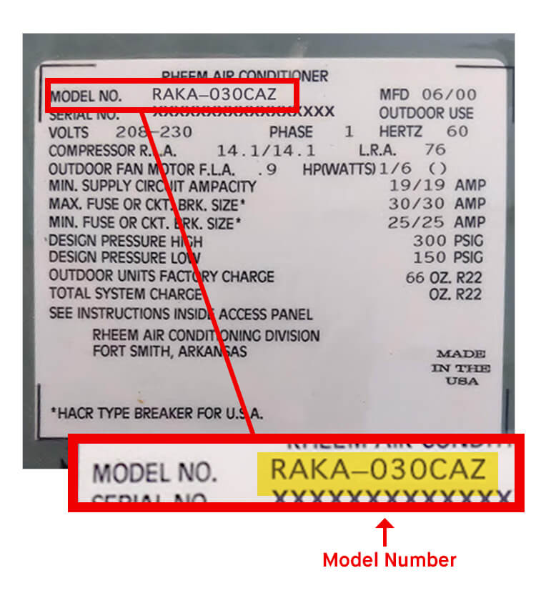 What is Rheem HVAC Unit Model Number