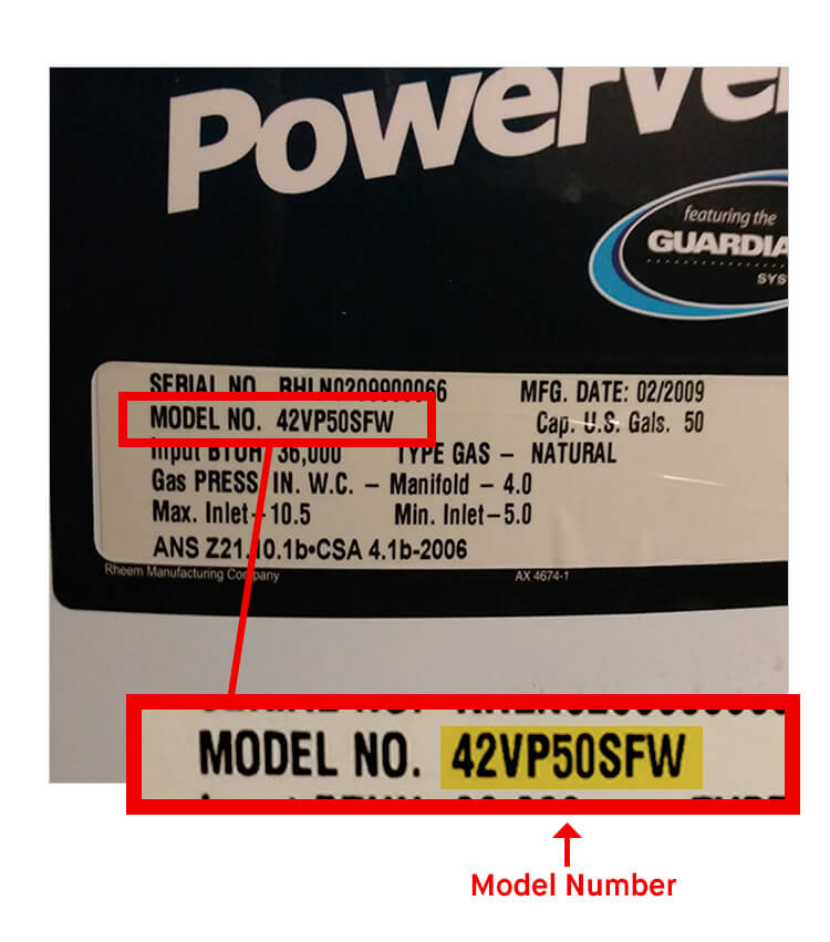 What is Rheem Water Heater Model Number