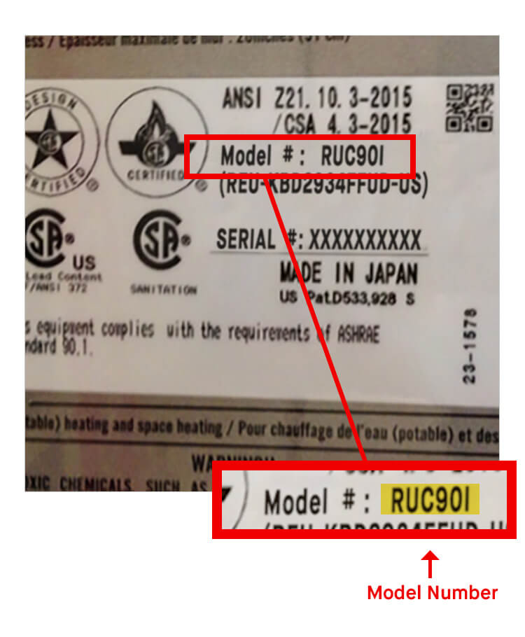 What is Rinnai Model Number