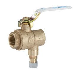 """3/4"""" LFBRVM1 FNPT x FNPT x Compression Combo Ball Valve and Relief Valve, 125 PSI (Lead Free) Product Image"""