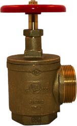 "2-1/2"" FNPT X MNST Angle Hose Valve (Rough Brass) Product Image"