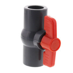 "1/2"" Gray PVC Ball Valve w/ T-Handle (Solvent Ends) Product Image"