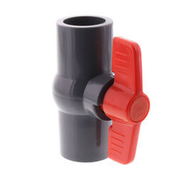"3/4"" Gray PVC Ball Valve w/ T-Handle (Solvent Ends) Product Image"