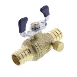 "T-2007NL 3/4"" PEX DZR Brass Full Port Ball Valve w/ Drain & Tee Handle Product Image"