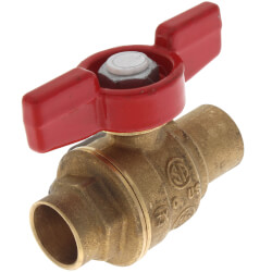 "1/2"" S-1001T Forged Brass Full Port Ball Valve, T-Handle (Sweat x Sweat) Product Image"