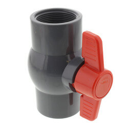 """1-1/2"""" Gray PVC Ball Valve w/ T-Handle (Solvent Ends) Product Image"""