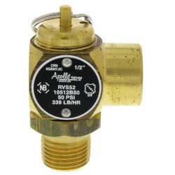 "1/2"" MNPT x 1/2"" FNPT RVS52 339 LBS/HR Steam Safety Relief Valve (50 psi) Product Image"