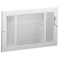 "8"" x 4"" (Wall Opening Size) White Three-Way Sidewall/Ceiling Register (631 Series) Product Image"