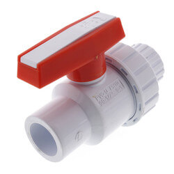 "1/2"" White PVC Single Union Ball Valve (Solvent Ends) Product Image"