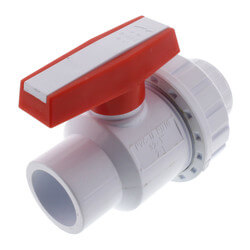 "1"" White PVC Single Union Ball Valve (Solvent Ends) Product Image"