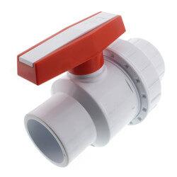 "2"" White PVC Single Union Ball Valve (Solvent Ends) Product Image"