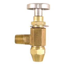 "3/8"" ODF Inlet x 1/4"" MPT Outlet Fusible Burner Angle Valve (3/4"" Long) Product Image"