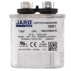 7.5 MFD Oval Run<br>Capacitor (440V) Product Image