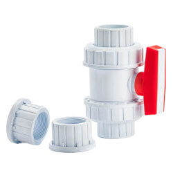 "1"" White PVC True Union Ball Valve Product Image"