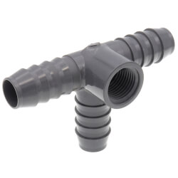 "3/4"" x 1/2"" PVC Barbed Insert Reducing Side Outlet Tee (Insert x FIPT) Product Image"