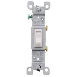 Single-Pole Grounding Toggle Light Switch - White (120V) Product Image