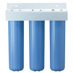 """BBFS-222, Three 1"""" #20 Big Blue Basic Multi-Stage Filtration System (90 PSI) Product Image"""