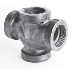 "2"" x 1-1/2"" Black Cast Iron Drainage Double 90° Wye Product Image"