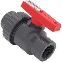 "T-645 1-1/4"" Gray PVC Single Union Ball Valve (Threaded) Product Image"