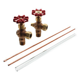 "1/2"" Heavy Bronze Gauge w/ Aluminum Wheel w/ 12"" Glass & Rod (w/ Auto Ball Valve) Product Image"