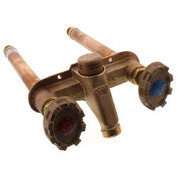 """Model 22 6"""" Length, 1/2"""" MPT x 1/2"""" Female Sweat Inlet Hot & Cold Anti-Siphon Wall Faucet w/ Metal Handle Product Image"""