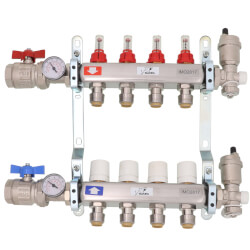 4 Loop Stainless Steel Radiant Heat Manifold w/ 1/2 Product Image