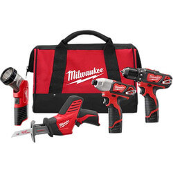M12 Cordless 4-Tool Kit (Drill/Driver, Impact Driver, Hackzall and Work Light) Product Image