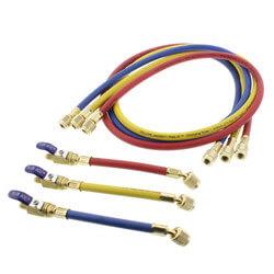 "PLUS II 3-Pack Charging Hoses w/ FlexFlow Valves (60"" Length) Product Image"